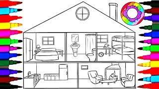 Coloring Pages Bathroom l Bathtub l Bedrooms l Living Room l Kitchen Coloring Drawing Pages