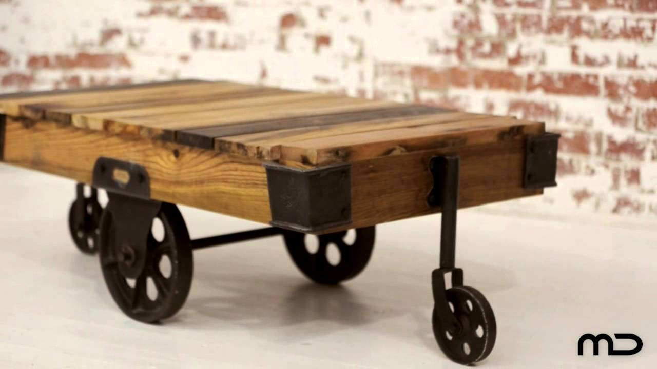 Industrial Coffee Table Cart   Hardwood U0026 Iron   Milan Direct