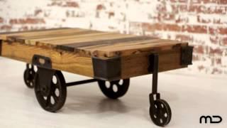 Industrial Coffee Table Cart - Hardwood & Iron - Milan Direct