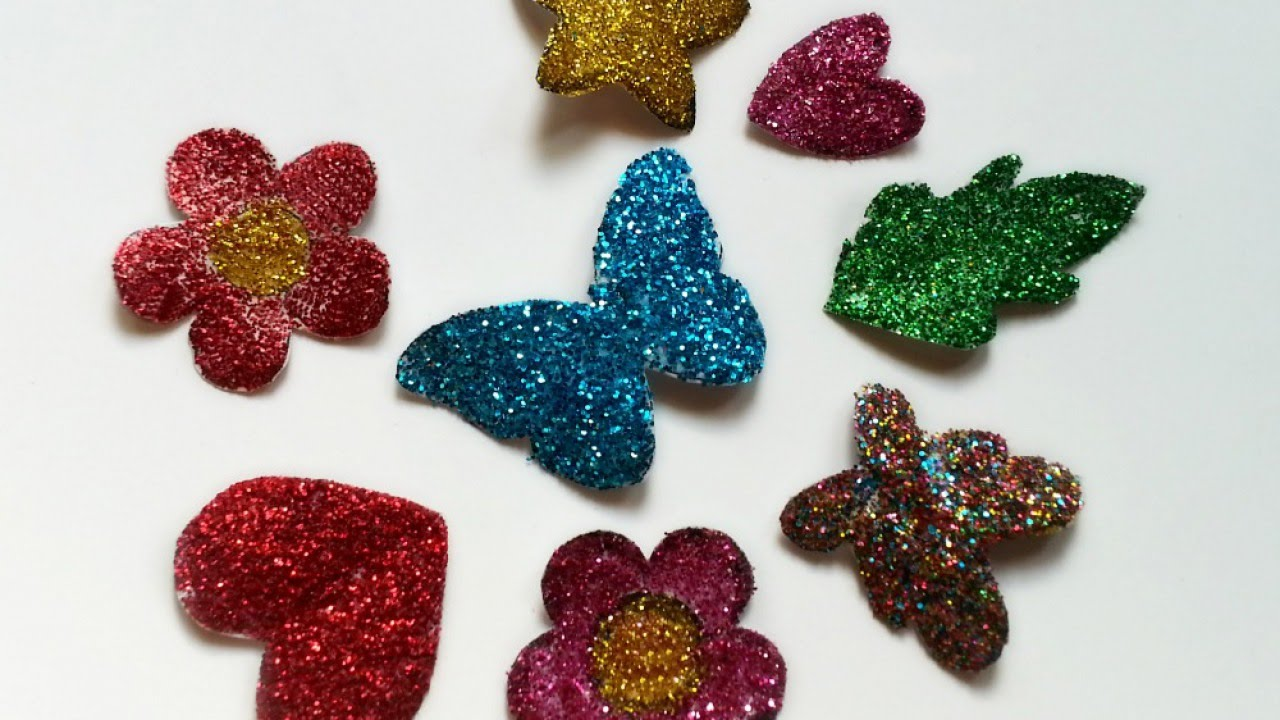 Make sparkly glitter stickers diy crafts guidecentral for Fomic sheet decoration youtube