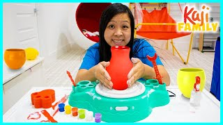 Mommy Testing Pottery Wheel Kit for Craft!!