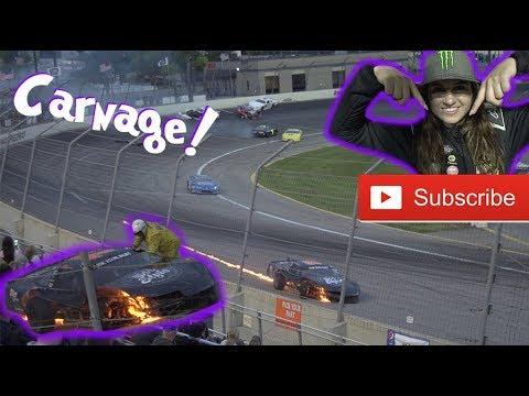 Big NASCAR Crash! Hailie Dodges Crash and Fire!
