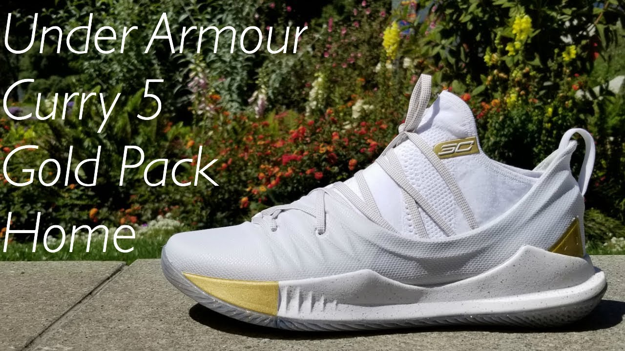 68c484482f4e Under Armour Curry 5 Gold Pack Home Steph s NBA Finals Sneaker - YouTube