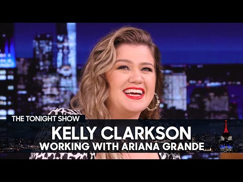 Kelly Clarkson Gushes Over Ariana Grande's Wit on The Voice Set | The Tonight Show
