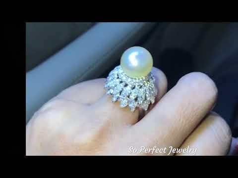 15mm Creamy White South Sea pearl & VS diamonds in 18K solid white gold ring