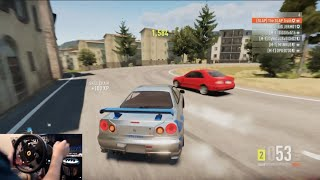 One of TheSLAPTrain's most viewed videos: Forza Horizon 2 Nissan Skyline R34 Drift Build (For Paul) w/Thrustmaster Wheel Cam