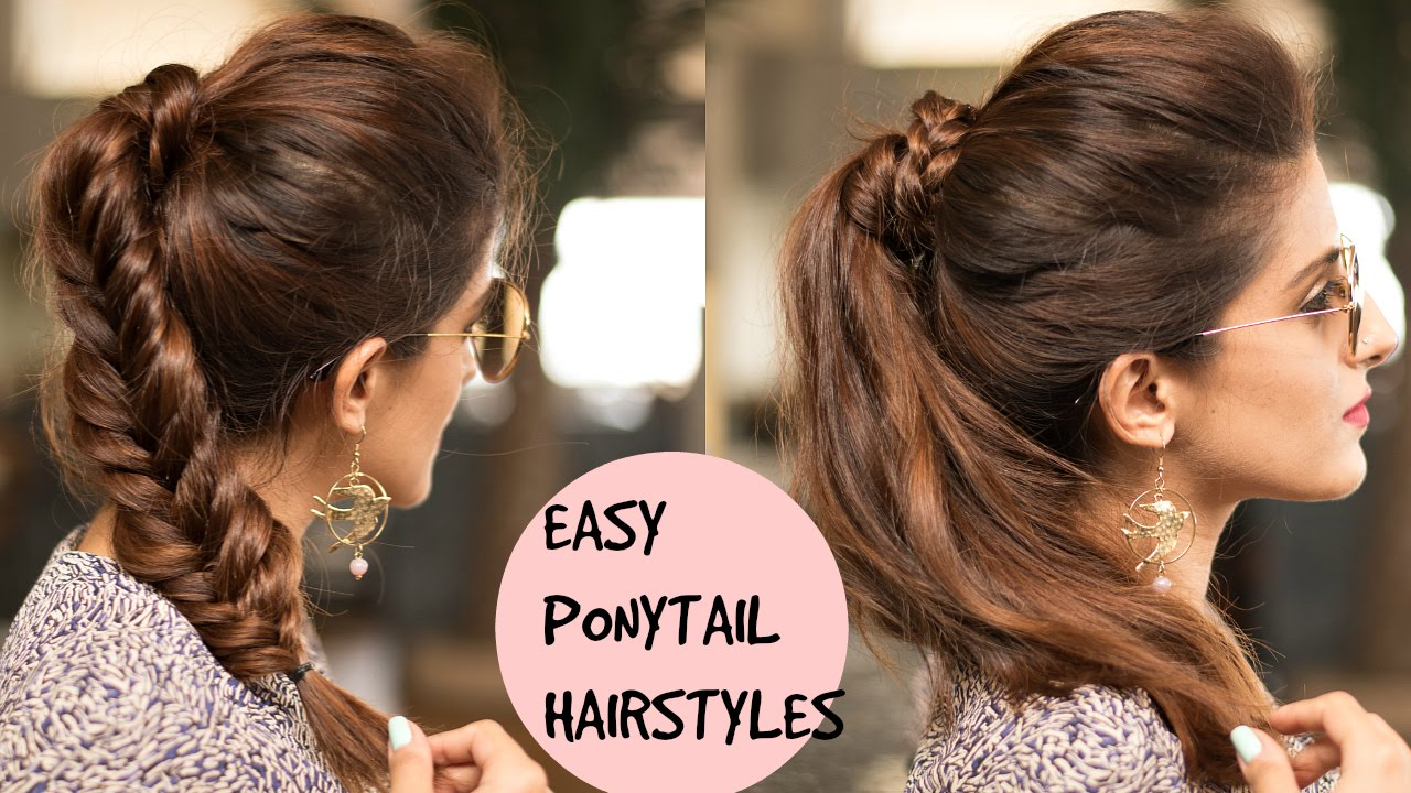 easy braided ponytail hairstyles for college, school,work | pouf with ponytail for medium hair