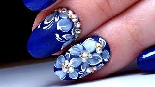 САМЫЙ КРУТОЙ Весенний ДИЗАЙН НОГТЕЙ Цветы на синем | Модный МАНИКЮР 2018