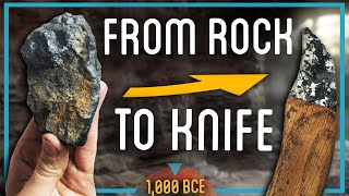 From Rock to Iron to KNIFE (Handmade Knife Forged from Rock)