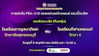 รร.กาญจนาภิเษกวิทยาลัย สุพรรณบุรี vs รร.กีฬานครนนท์วิทยา 6 | PEA-U18 รอบชิงฯ หญิง | SMMTV