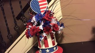 Upcycle Tin to Uncle Sam Patriotic Hat Centerpiece