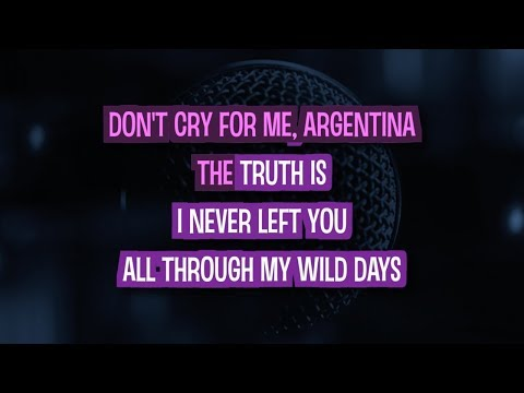 Don't Cry For Me Argentina (Remix) Karaoke Version by Madonna (Video with Lyrics)