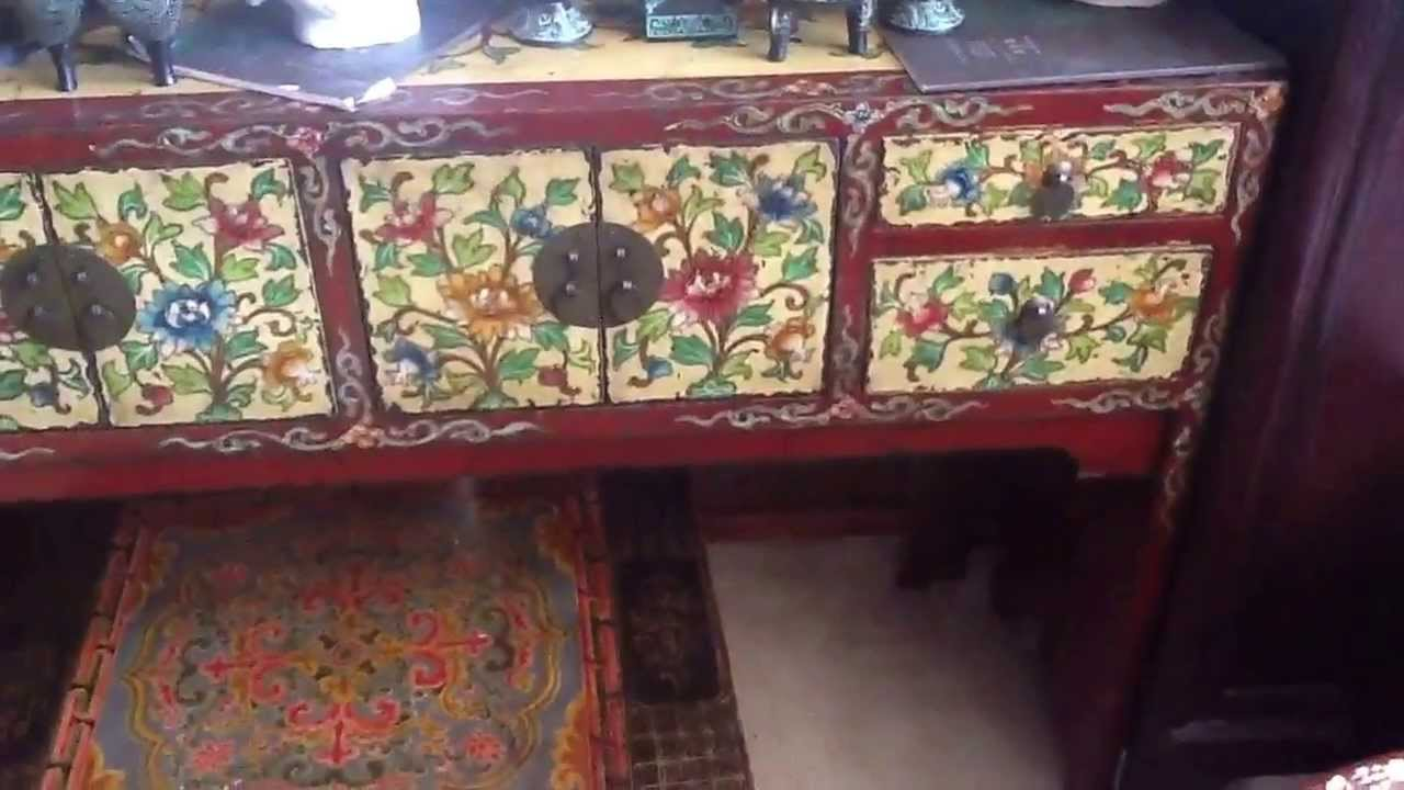 Tibetan Flower Full Sides Hand Painting Narrow Altar Console Table WK2532