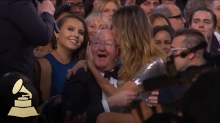 Heidi Klum Sits on the Lap of James Corden's Dad | Audience Cam | 59th GRAMMYs