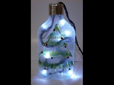 Diy recicla y decora botellas de vidrio navidad youtube for Botellas de vidrio decoradas para navidad