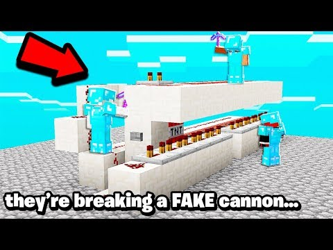 FAKE redstone cannon TROLL on faction..to raid this Minecraft BASE!