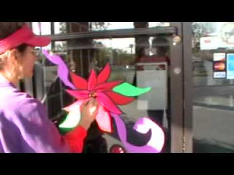 Christmas Poinsettia Holiday Window Painting Kim Cooper