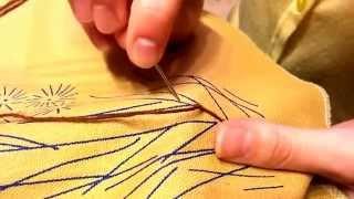 Уроки по вышивке лентами - Стебельчатый шов