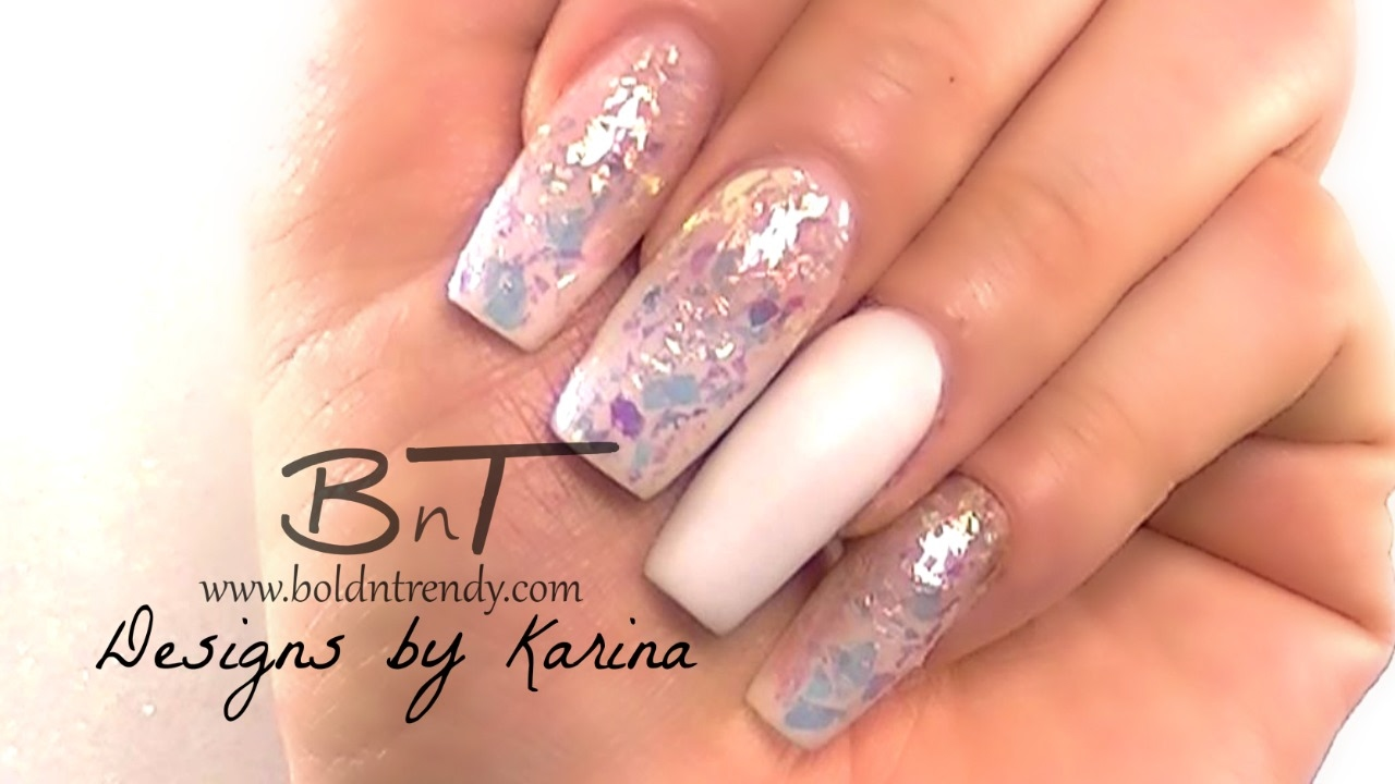 French Fade / Coffin - Ballerina Shaped Nails Broken Glass Finish ...