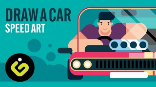 How To Draw A Car, Simple Sports Flat Car in Adobe Illustrator
