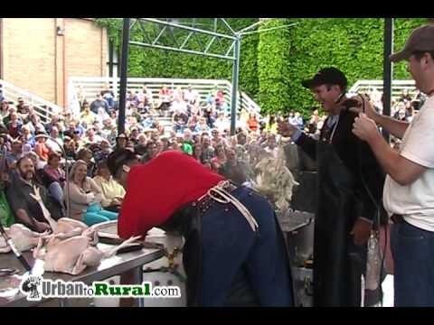 Joel Salatin & David Schafer - poultry processing demonstration - Mother Earth News Fair
