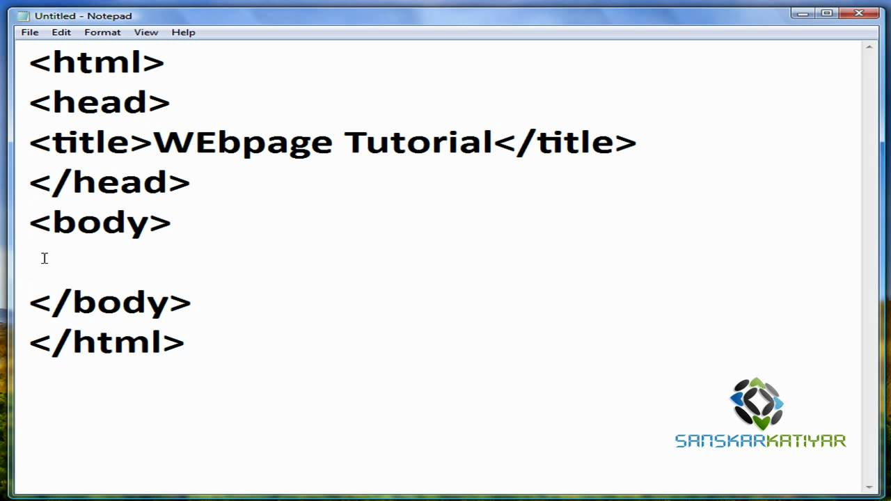 How to make an simple blank html webpage with notepad Build easy website
