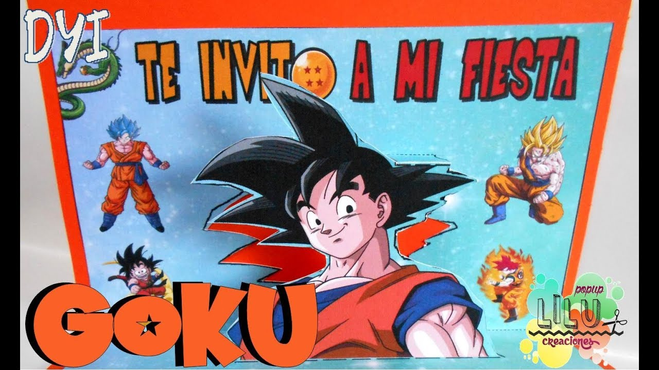 Invitación De Son Goku De Dragon Ball Diy Invitación Infantil