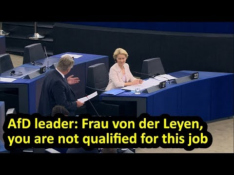 afd-leader-criticises-von-der-leyen-during-eu-parliament-debate-on-her-nomination,-english-subtitles