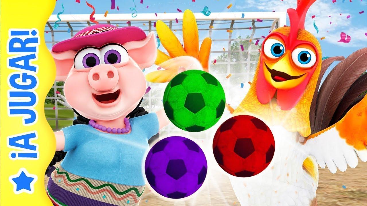 Fútbol con balones de Colores - Bartolito vs Pancha y Más Juegos Divertidos #Sports   A Jugar