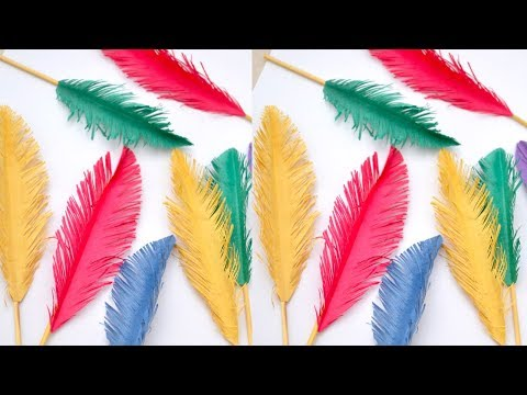 How to make beautiful paper feather | Easy to make artificial Feather || Craftsbyanu