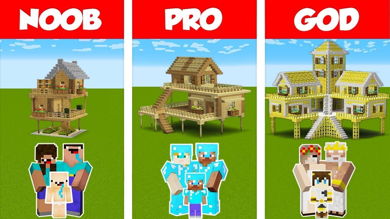 Minecraft Noob Vs Pro Vs God Survival Family House