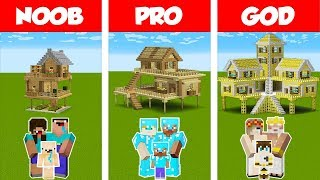 Minecraft Noob Vs Pro Vs God Survival Family House Challenge In Minecraft  Animation