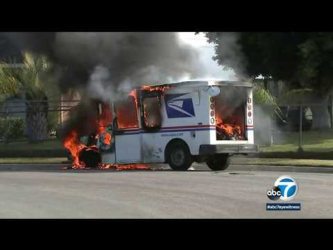 image for Mail Truck Catches Fire On Christmas Eve