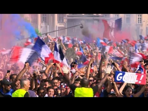 Paris fans celebrate France moving 2-1 ahead in World Cup final