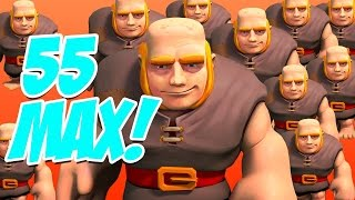 55 MAX Giants! Clash of Clans Loot Challenge!