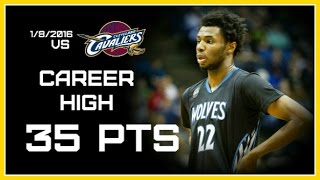 Andrew Wiggins Career High vs Cavaliers 35 pts / Full Highlights (1/8/2016) HD