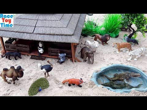 Zoo Toy Animals Figures in the sandbox - Learn Animal Names For Kids