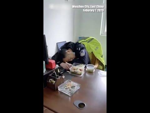 Полицейский вздремнул в перерыве за 17 дней работы  ➤ #КОРОНАВИРУС ✦ 13 ФЕВРАЛЯ 2020