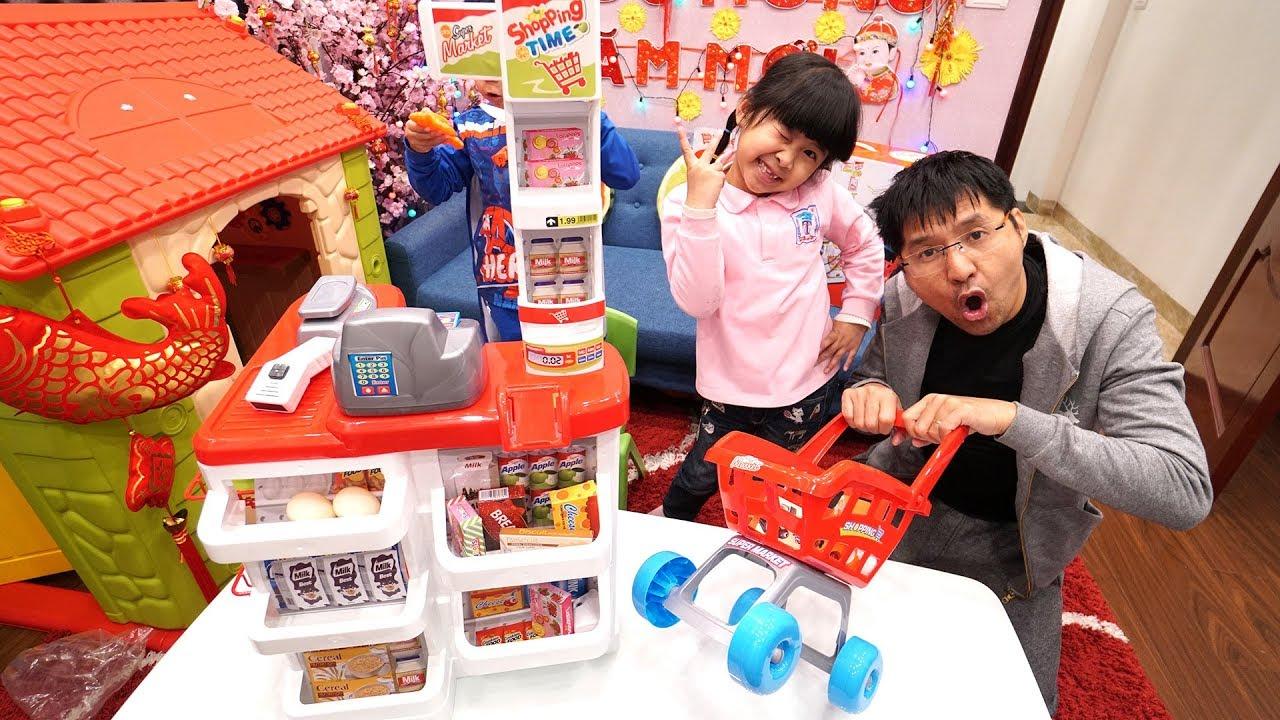 TRÒ CHƠI ĐI SIÊU THỊ MUA ĐỒ - Pretend Play Shopping w Kids Grocery Supermarket Food Toy Store