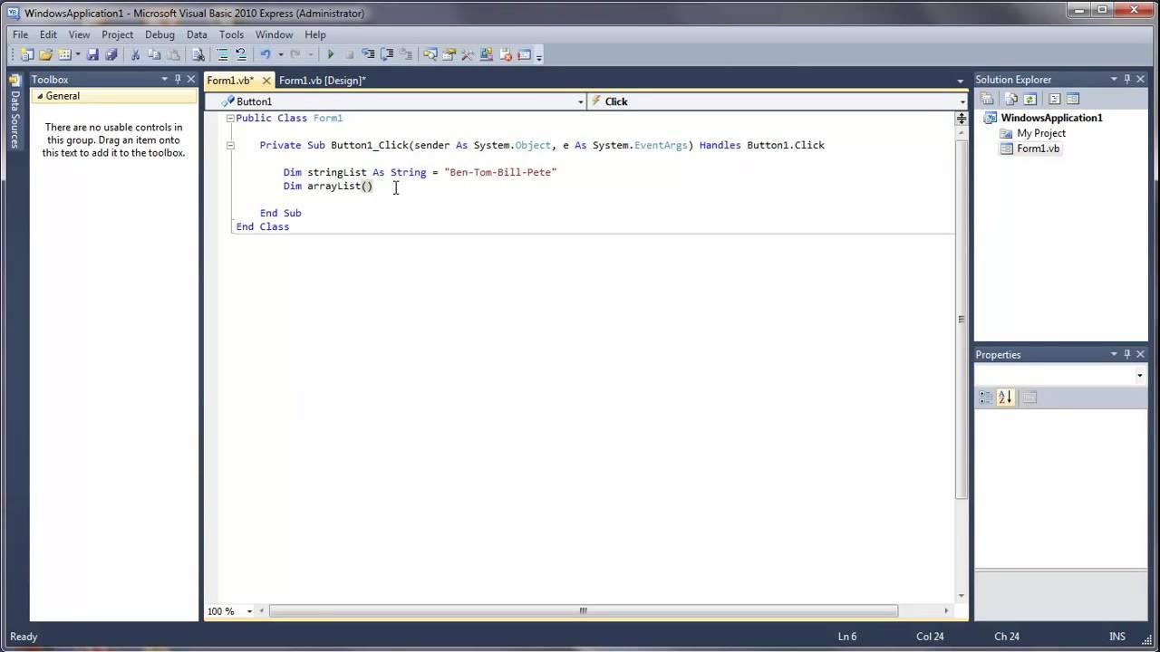 Learn Visual Basic 39 Splitting Strings Into Arrays Youtube