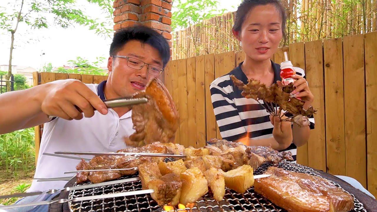 后院食材大丰收,大sao来顿小烧烤,全猪肉搭配柴火灶,肥得流油!【徐大sao】
