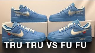 Real VS Fake Air Force 1 Low Off White MCA University Blue StockX PLUS BLACKLIGHT TEST
