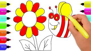 Draw and Coloring a Bee and a Flower | How to Draw and Color a Cute Bee for Kids