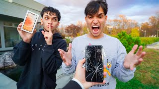BREAKING My Twin Brother's Phone, Then Surprising Him With A iPhone 12