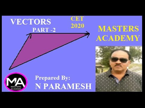 KCET-2020 PREPARATION :MATHEMATICS : VECTORS PART-2 By: N PARAMESH, MASTERS ACADEMY.