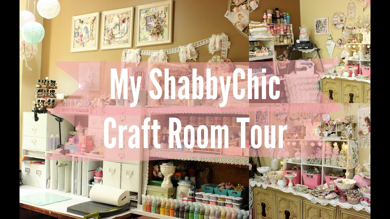 My Beautiful Shabby Chic CraftRoom Scraproom Tour | Workspace | Stress  Buster | Scrapbook   YouTube