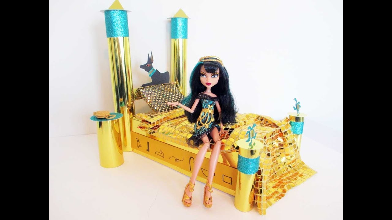 how to make a cleo de nile doll bed tutorial monster high youtube. Black Bedroom Furniture Sets. Home Design Ideas