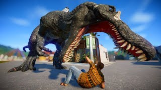 Spinosaurus Vs Giganotosaurus Vs Triceratops Breakout and Fight - Jurassic World Evolution