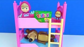 Koca Ayıdan gizli Toybox açan Maşa ranzadan düşüyor Toybox sürpriz kutu açıyoruz ve sihirbazlık ifşa