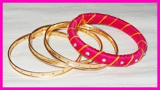 Silk Thread Bangle Making with Paper Quilling Strips